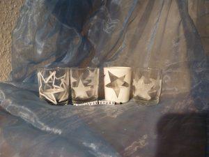 Windlichter Stern Zucker schabloniert Dessertglas