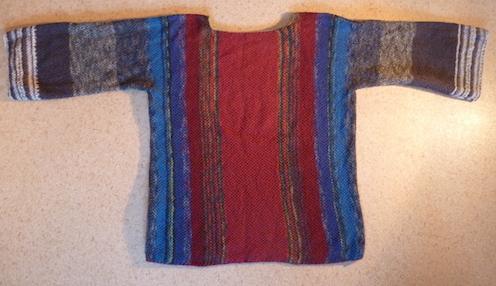 Sockenwoll-Reste, Pullover, Pulli, quer gestrickt