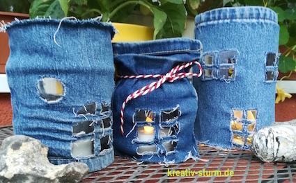 Jeans-Windlichter